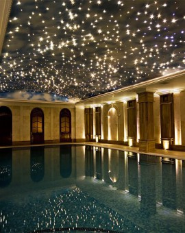 fiber optic star ceiling over swimmingpool