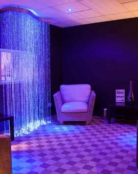 wave fiber optic cracked glass sideglow chandelier